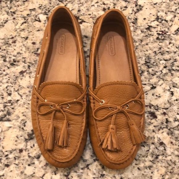 31a4390142e37 Coach Shoes   Nadia Moccasin Leather Loafer Tan 65   Poshmark